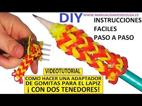 COMO HACER UN ADAPTADOR DE GOMITAS PARA EL LAPIZ CON DOS TENEDORES. TUTORIAL DIY