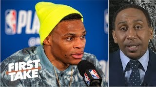 Russell Westbrook's behavior at press conferences is 'uncalled for' - Stephen A. | First Take