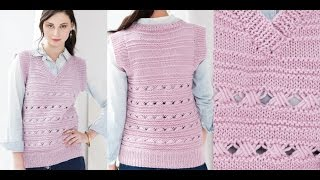 Tutorial for Cross 6 Stitch Pattern, Vest Vogue Knitting Spring/Summer 2016 #16
