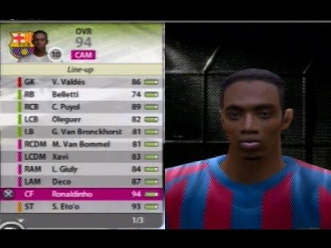 Fifa 06 FC Barcelona Squad Valdes Puyol Xavi Giuly Deco Ronaldinho Eto'o Larsson Messi Iniesta