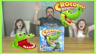 Kids Play Crocodile Dentist game for Family Game Night Fun with Ava Isla & Daddy