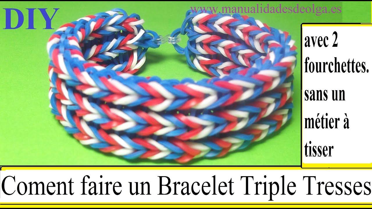 coment faire un bracelet triple tresses avec 2 fourchettes ne pas rainbow loom tutoriel youtube. Black Bedroom Furniture Sets. Home Design Ideas