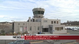 video Officials at Tweed New Haven Regional Airport say they're negotiating with a Missouri-based airline to link southern Connecticut to Washington, D.C..