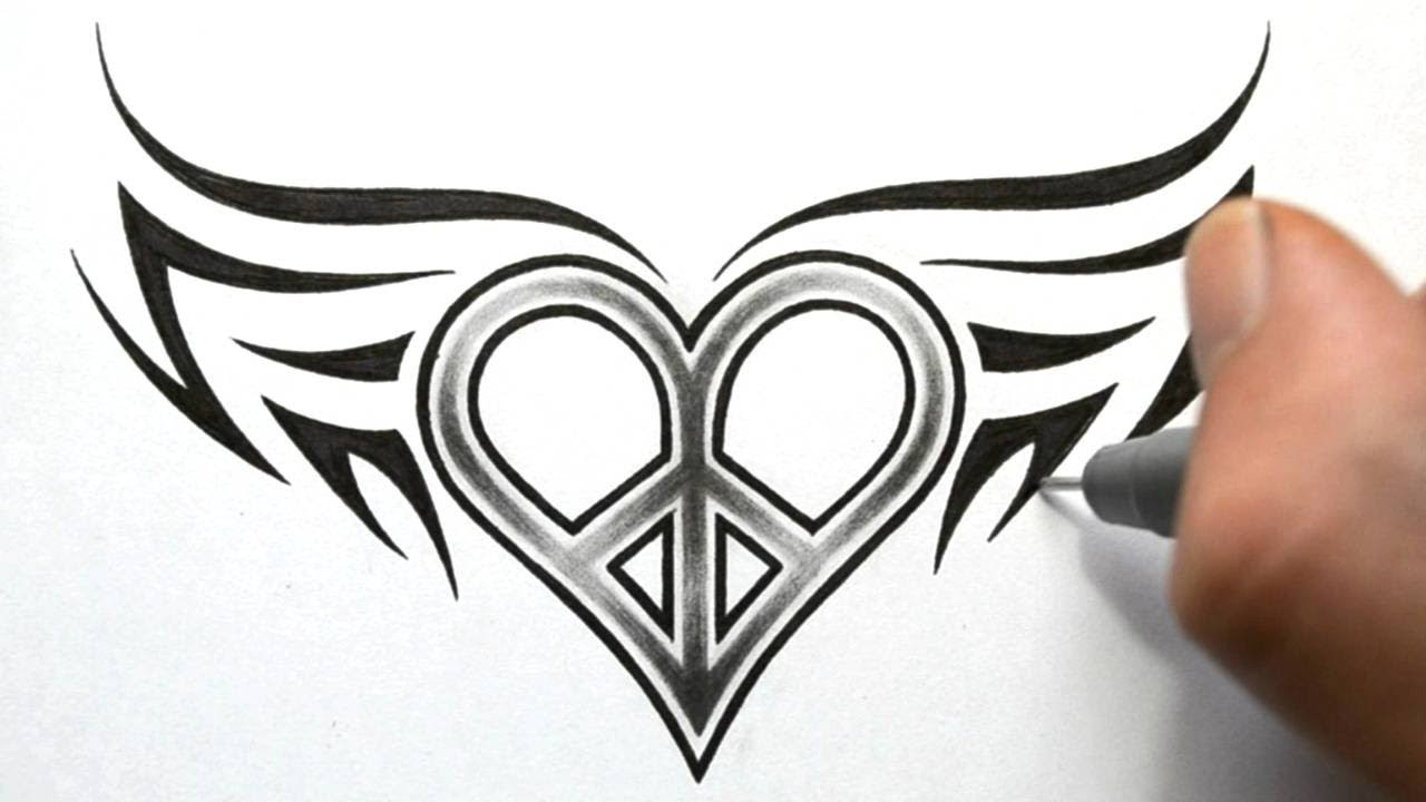 designing a love peace symbol with wings tattoo design
