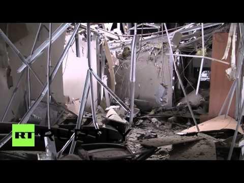Ukraine: See shell-blasted Toyota showroom near Donetsk airport