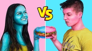 Last To Stop Eating Their Colored Food Challenge / 24 Hours Blue vs Pink Food Challenge