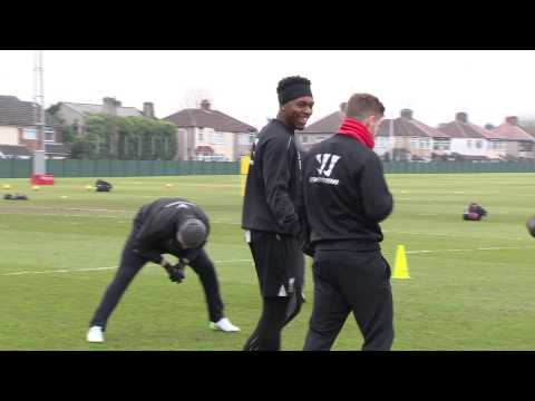 Alberto Moreno attempts to recreate Daniel Sturridge's celebration dance...