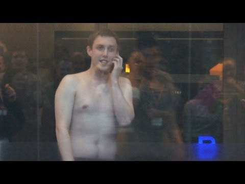 Chris Stark (off of Scott's show) rides the BBC lifts in his pants