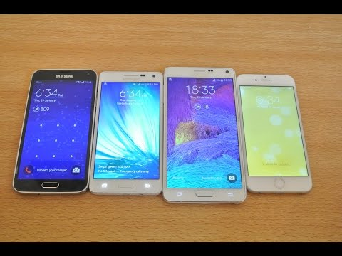 Samsung Galaxy A5 vs Galaxy S5 vs Galaxy Note 4 vs iPhone 6 - Which is Faster?