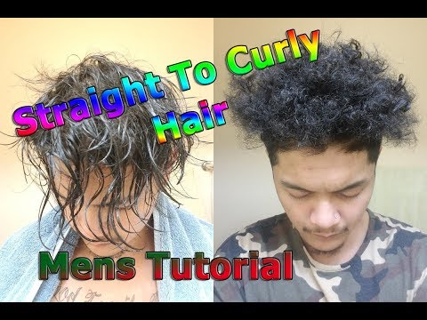 Asian Natural STRAIGHT To CURLY NAPPY Hair | Mens Tutorial | NO PERM