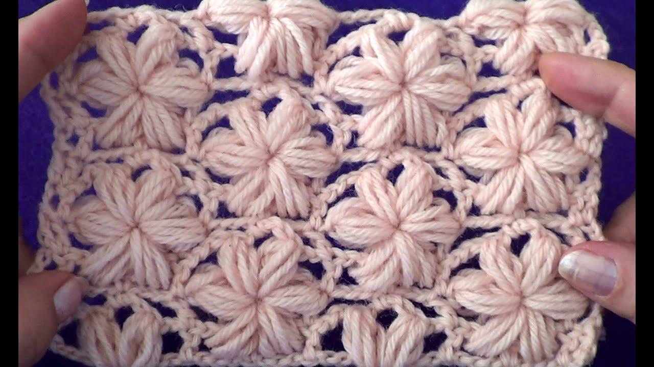 Вязание крючком цветок из пышного столбика 411