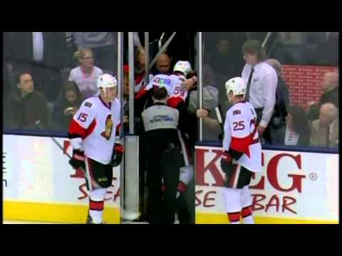 Frazer McLaren KOs Dave Dziurzynsky fight Mar 6 2013 Ottawa Senators vs Toronto Maple Leafs NHL