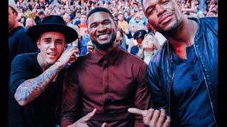 Justin Bieber & Usher at the Cleveland Cavaliers vs. New York Knicks 2014