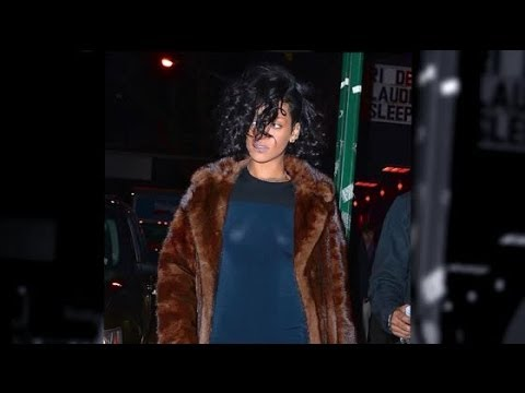 Rihanna Wears Transparent Blue Dress For Night Out video