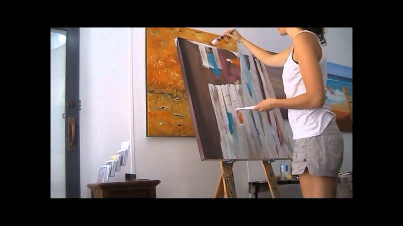 Painting An Abstract White Minimalist Speed Painting With