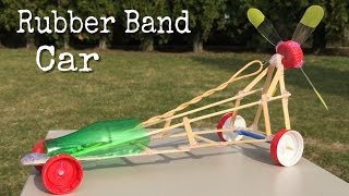 How to Make a Car - Rubber Band Powered Car Out of Coffee shop Sticks