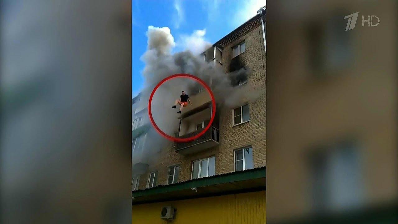 Во владимирской области из?за пожара семье пришлось прыгать .