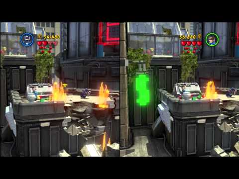 LEGO Marvel Super Heroes - Split Screen Co-op Walkthrough Part 2 - Times Square Off (PS3)