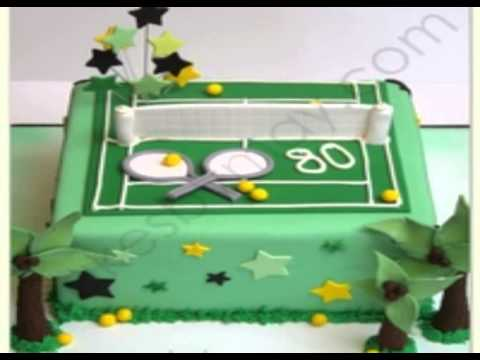tennis court cake decorations - YouTube