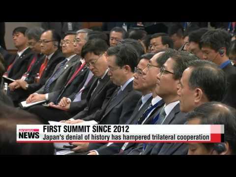Leaders of Korea, Japan, China call on N. Korea to give up nukes   한중일 정상회담