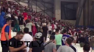RAW: Russian fans storm English sector at Marseille stadium after Euro 2016 draw match