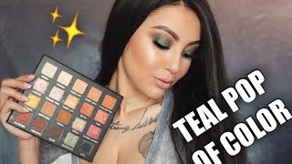 Pop Of Teal Eyeshadow Tutorial | Laura Lee X Violet Voss