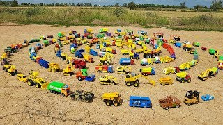 Learn Car Names With Car Toys For Children Excavator Road Roller School Bus Dump Truck