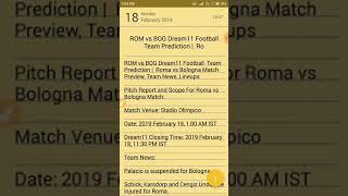 ROM vs BOG Dream11 Football  Team Prediction | Roma vs Bologna Match Preview, Team News, Lineups