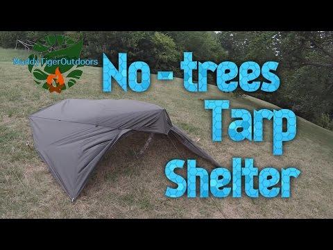 No-trees Tarp Shelter Setup - MuddyTigerOutdoors