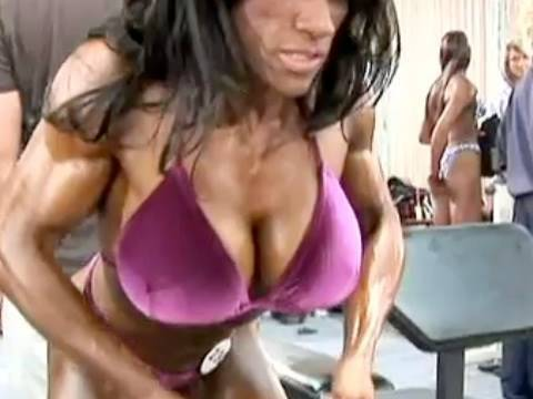 Female Bodybuilder Akila Pervis Backstage
