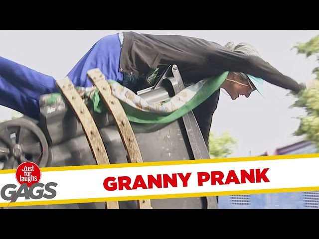 Granny Catapulted In The Garbage