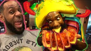 LEBRON'S TACO TUESDAY! COOKING CHEESY OVEN BAKED SPICY TACOS!