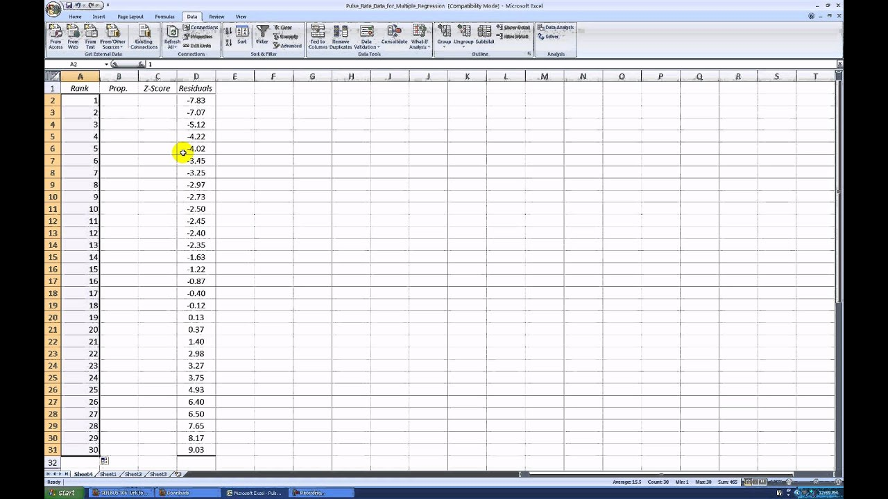 Creating a Normal Probability Plot with Excel 2007 - YouTube: www.youtube.com/watch?v=kAG-z8eju28