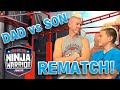 SON VS. DAD NINJA RACE [Beckstrand Ninja Family] | American Ninja Warrior Junior | Universal Kids