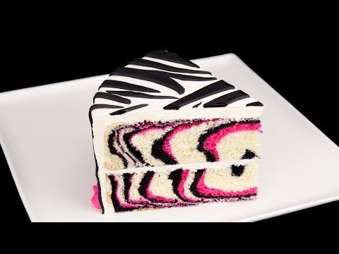 How to Make a Pink Zebra Cake Tutorial from Cookies Cupcakes and Cardio