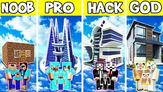 Minecraft: FAMILY MODERN FLYING HOUSE BUILD CHALLENGE - NOOB vs PRO vs HACKER vs GOD in Minecraft