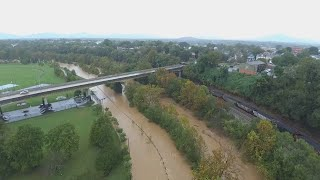 Tropical Storm Michael flooding the Roanoke River