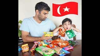 FUNNY 3 year old trys TURKISH Snacks with DAD. Funny Tasting Fails