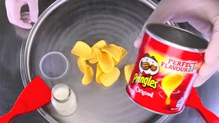 Ice Cream Rolls | how to make salted Caramel rolled Ice Cream with Pringles Potato Chips | ASMR Food