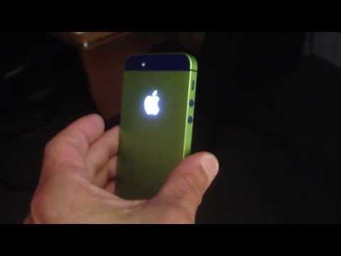 iPhone 5 customized to Blue and Green with a LIGHT MOD back.