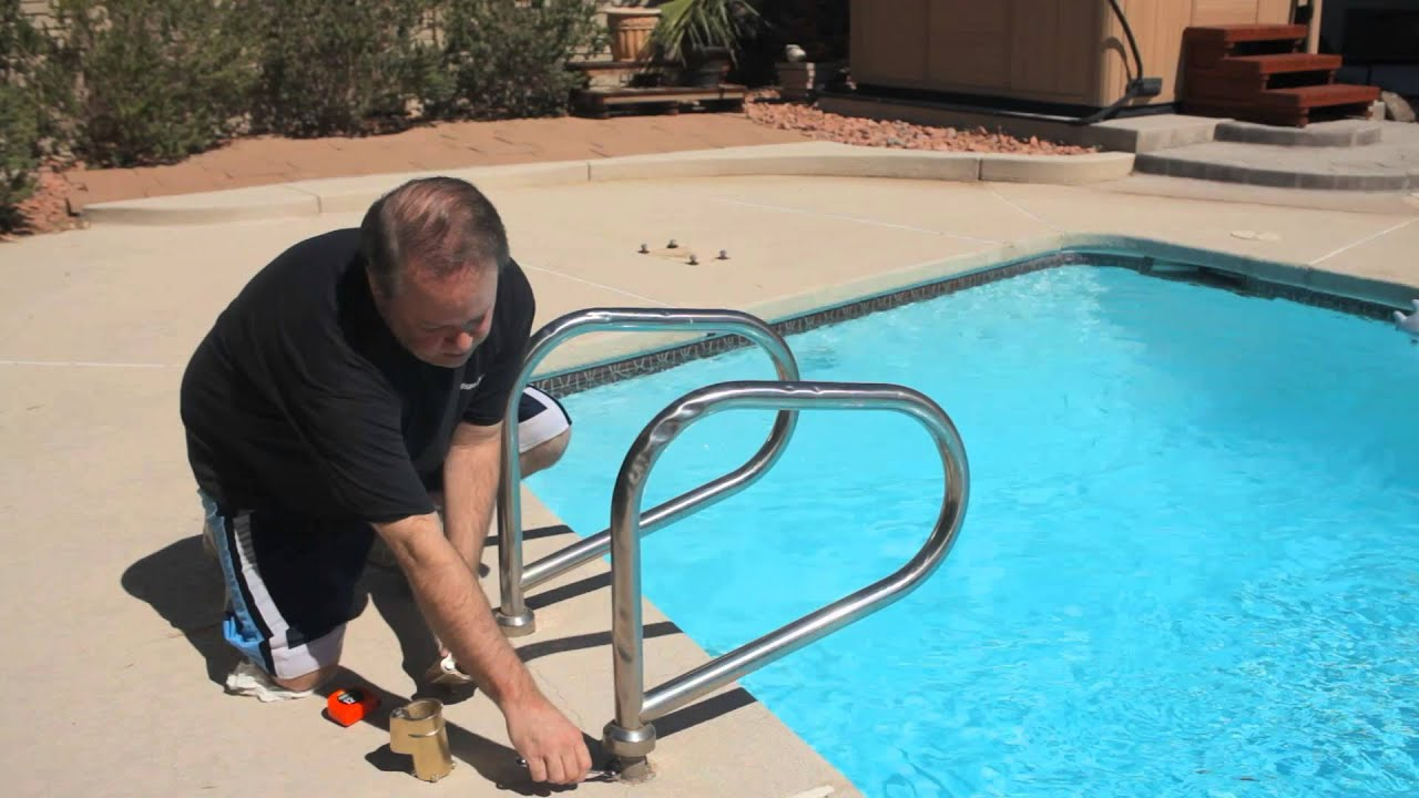 How to install in ground pool ladders pools spas youtube - Above ground pool steps for handicap ...