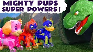 Paw Patrol Mighty Pups Rescue vs T-Rex Dinosaur Toys & DC Comics The Joker Full Episode