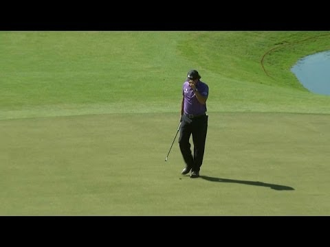 Phil Mickelson finishes with a birdie on No. 18 at Cadillac