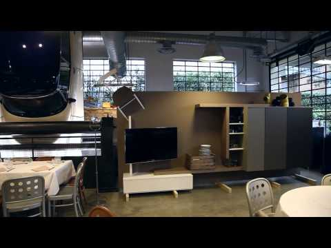 Soggiorno design Side System Tre D – mobile con contenitore e porta tv – foto backstage