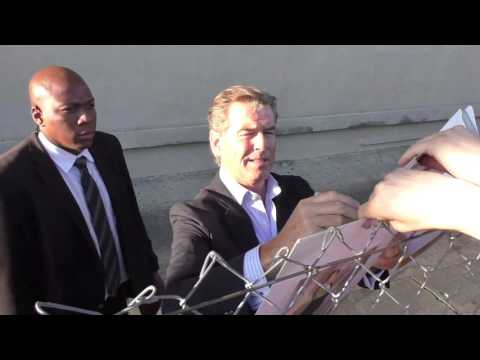 Pierce Brosnan greets fans at Jimmy Kimmel Live in Hollywood
