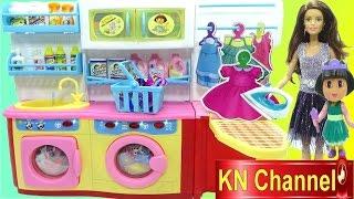 Đồ chơi trẻ em PHÒNG GIẶT ĐỒ ỦI ĐỒ CỦA BÚP BÊ BARBIE búp bê DORA Doll Kids toy