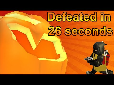 Defeating Lord Pumpkin Jr in 26 seconds R2DA