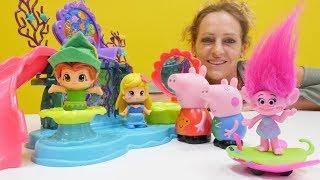 Peppa Wutz spielt mit Trolls Toys. Lehrreiches Video.