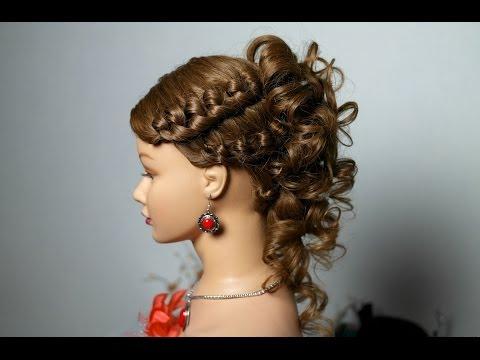 Hairstyle for medium long hair. Прическа с плетением на средние и длинные волосы.