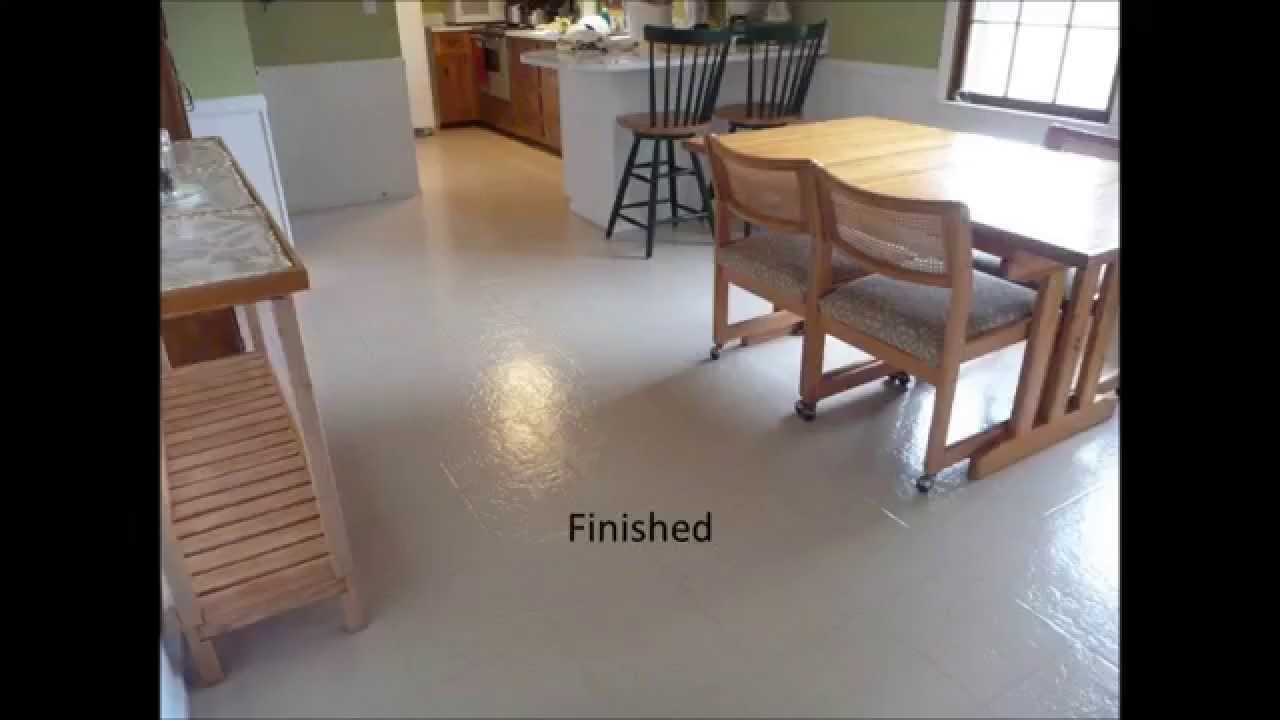 Painted vinyl floor youtube for Can linoleum be painted